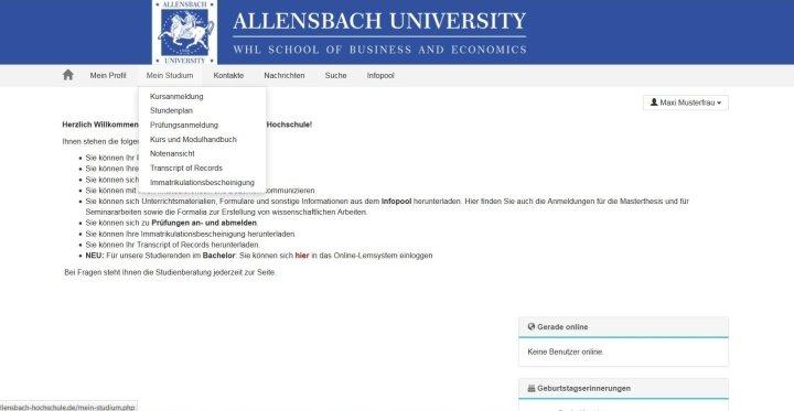 Slide Startseite unseres Online-Campus
